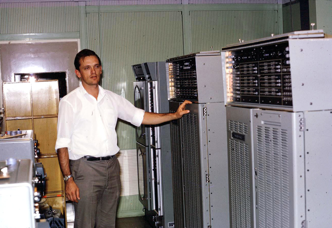Mike Harrison with 642B computers Photographer unknown
